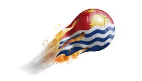 Flying Flaming Soccer Ball with Kiribati Flag. Soccer ball with a trail of smoke and flames flying through the air with flags from countries of the world Stock Photos