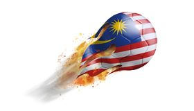 Flying Flaming Soccer Ball with Malaysia Flag. Soccer ball with a trail of smoke and flames flying through the air with flags from countries of the world Royalty Free Stock Image