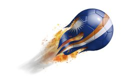 Flying Flaming Soccer Ball with Marshall Islands Flag. Soccer ball with a trail of smoke and flames flying through the air with flags from countries of the world Stock Photo