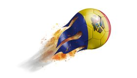 Flying Flaming Soccer Ball with Moldova Flag. Soccer ball with a trail of smoke and flames flying through the air with flags from countries of the world Royalty Free Stock Photography