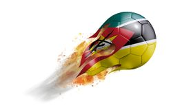 Flying Flaming Soccer Ball with Mozambique Flag. Soccer ball with a trail of smoke and flames flying through the air with flags from countries of the world Royalty Free Stock Photos