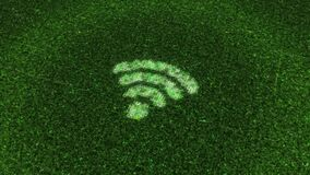 Flying flickering particles and impulses and a wifi sign or internet symbol on a dark background. Animation