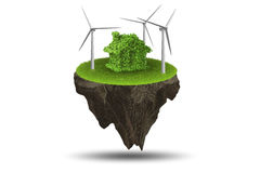 The flying floating island in green energy concept - 3d rendering. Flying floating island in green energy concept - 3d rendering Stock Image