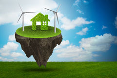 The flying floating island in green energy concept - 3d rendering. Flying floating island in green energy concept - 3d rendering Stock Images
