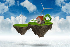 The flying floating island in green energy concept - 3d rendering. Flying floating island in green energy concept - 3d rendering Stock Photo
