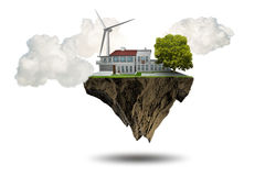 The flying floating island in green energy concept - 3d rendering Stock Photography