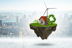 The flying floating island in green energy concept - 3d rendering. Flying floating island in green energy concept - 3d rendering stock illustration