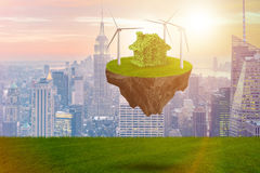 The flying floating island in green energy concept - 3d rendering Stock Photos