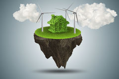 The flying floating island in green energy concept - 3d rendering Royalty Free Stock Photo