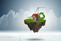 The flying floating island in green energy concept - 3d rendering Royalty Free Stock Photography