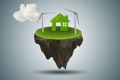The flying floating island in green energy concept - 3d rendering Royalty Free Stock Images