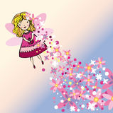 Flying flower fairy image. Vector graphic image with nice girl flying among beautiful flowers Stock Images