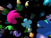 Flying flowers generated 3D background Stock Photo