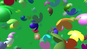 Flying flowers generated 3D video stock video