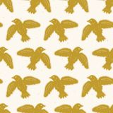 Flying Folk Art Bird Seamless Vector Pattern. Traditional Hand Drawn Block Print Style. For NAture Home Decor, Boho Wallpaper, Nordic Textiles, Wing Animal royalty free illustration