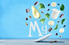 Flying foods rich in magnesium Stock Photography