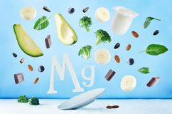 Flying foods rich in magnesium Royalty Free Stock Photography