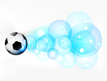 Flying football ball with abstract bubble shoot  Royalty Free Stock Image
