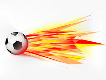 Flying football ball with abstract flaming shoot  Royalty Free Stock Photos