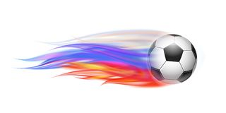 Soccer ball with flame trail of Russian Flag. Flying football on fire. Soccer ball with bright flame three colors trail of Russian Flag. Vector illustration Royalty Free Stock Image