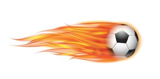Flying football or soccer ball on fire. Flying football on fire. Soccer ball with bright flame trail isolated on white background Stock Image
