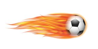 Flying football or soccer ball on fire. Flying football on fire. Soccer ball with bright flame trail. Vector illustration isolated on white background Stock Images