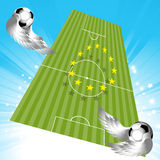 Flying football soccer pitch and balls Stock Photography