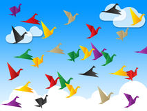 Flying Freedom Indicates Flock Of Birds And Escaped Stock Photo