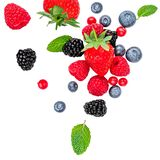 Flying Fresh Berries Isolated On White Background, Top View. Strawberry, Raspberry, Blueberry And Mint Leaf, Flat Lay Royalty Free Stock Photography
