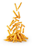 Flying fried potatoes on white background. French fries Royalty Free Stock Photos