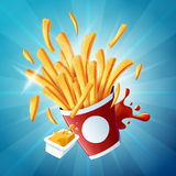 Flying fries on light blue background Stock Images