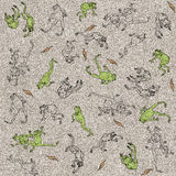 Flying frogs. Seamless texture in retro style Stock Image