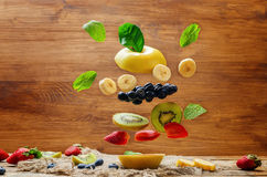 Flying fruit burger Stock Images