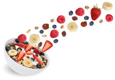 Flying fruit muesli for breakfast with fruits like banana and st Stock Photography