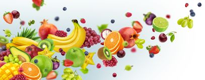 Flying fruits and berries isolated on white background. Flying tropical fruits and berries isolated on white background. Healthy vegetarian nutrition. Falling vector illustration