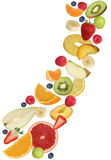 Flying fruits like apples fruit, oranges, banana and strawberry Stock Photos