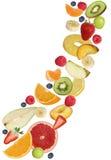 Flying fruits like apples fruit, oranges, banana and strawberry Stock Photos