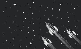 Flying Galaxy space ships, rockets in space. Business banner concept. Retro vintage background. Flying Galaxy space ships, rockets in space stock illustration