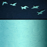Flying Geese. Geese flying above lake, fancy paper illustration Stock Photography