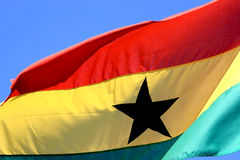 Flying Ghanese flag Stock Image