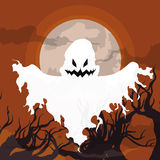 Flying Ghost on the Graveyard,Vector Illustration stock photos
