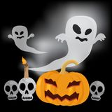 Flying ghost Happy halloween vector illustration Stock Images