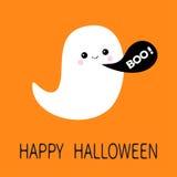 Flying ghost spirit. Black talking bubble Boo Happy Halloween.. Flying ghost spirit. Black talking bubble Boo Happy Halloween. Scary white ghosts. Cute cartoon Stock Image