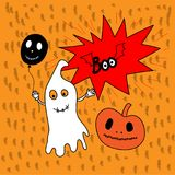 Flying ghost spirit holding bunting flag Boo. Happy Halloween. Scary white ghosts. Cute cartoon spooky character. Smiling face, ha. Nds. Orange background Royalty Free Illustration
