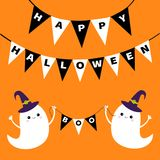 Flying ghost spirit holding bunting flag Boo. Happy Halloween. Two scary white ghosts. Witch hat. Cute cartoon spooky character. S. Miling face, hands. Orange Stock Photography