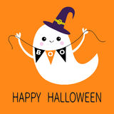 Flying ghost spirit holding bunting flag Boo. Witch hat. Happy Halloween  Stock Photos