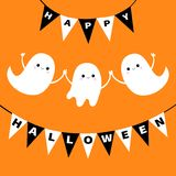 Flying ghost spirit set. Bunting flag Happy Halloween. Boo. Three scary white ghosts family. Cute cartoon spooky character. Smilin. G face, hands. Orange Royalty Free Stock Images