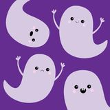 Flying ghost spirit set. Happy Halloween. Four scary white ghosts. Cute cartoon spooky character. Smiling Sad face, frightening sc. Aring hands. Violet Royalty Free Stock Photos