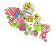 Flying gift boxes Royalty Free Stock Images
