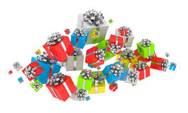 Flying gift boxes Stock Images